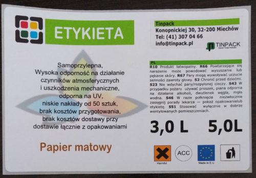 etykieta 3-5 L papier matowy